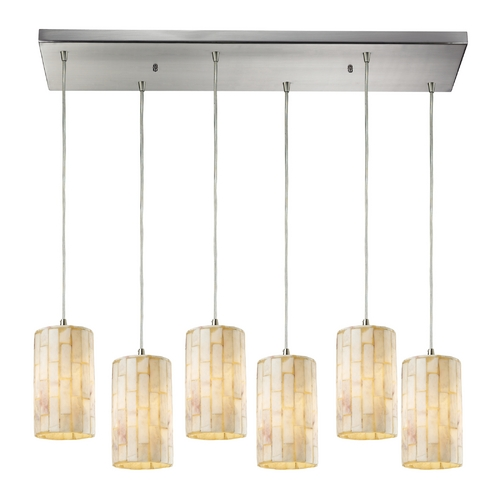 Elk Lighting Modern Multi-Light Pendant Light with Beige / Cream Glass and 6-Lights 10147/6RC