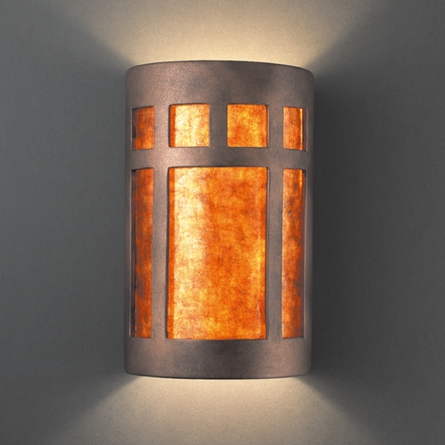 Justice Design Group Sconce Wall Light with White in Antique Copper Finish CER-7355-ANTC