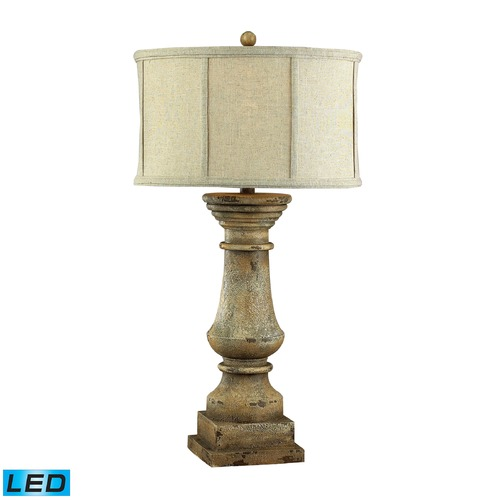 Dimond Lighting Dimond Lighting Monkstown Distressed Beige LED Table Lamp with Drum Shade 93-9121-LED