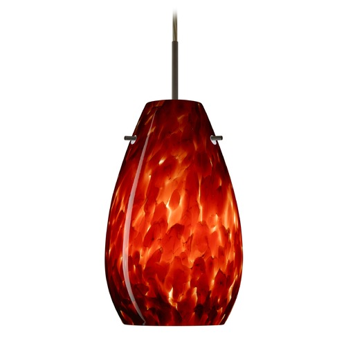 Besa Lighting Besa Lighting Pera Bronze LED Mini-Pendant Light with Oblong Shade 1JT-412641-LED-BR