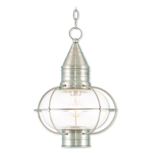 Livex Lighting Livex Lighting Newburyport Brushed Nickel Outdoor Hanging Light 26906-91