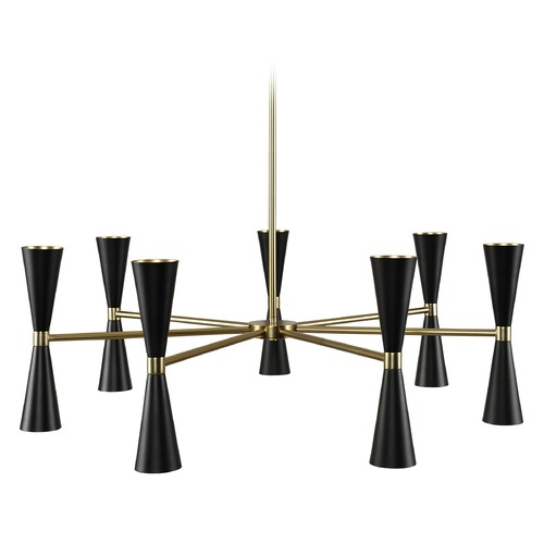 Kalco Lighting Mid-Century Modern LED Chandelier Black and Vintage Brass Milo by Kalco Lighting 310471BVB