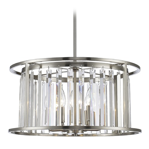 Z-Lite Z-Lite Monarch Brushed Nickel Pendant Light with Drum Shade 439P-BN