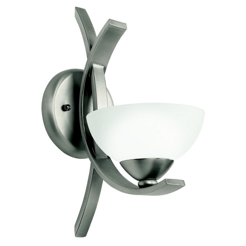 Kichler Lighting Kichler Modern Sconce Wall Light with White Glass in Pewter Finish 45161AP