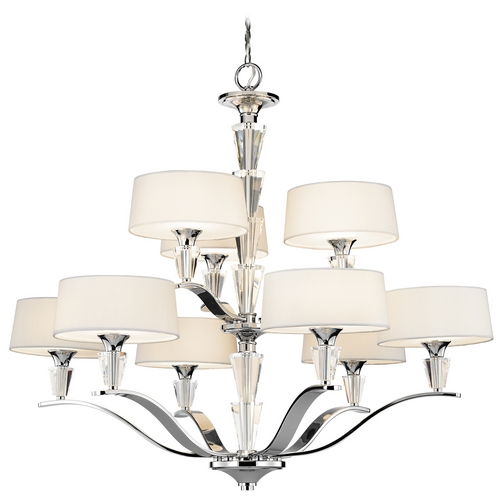 Kichler Lighting Kichler Crystal Chandelier with White Shades in Chrome Finish 42031CH