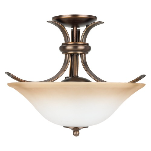 Sea Gull Lighting Semi-Flushmount Light with Beige / Cream Glass in Russet Bronze Finish 75360-829