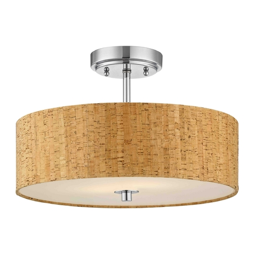 Design Classics Lighting Chrome Ceiling Light with Drum Cork Shade - 16-Inches Wide DCL 6543-26 SH9472