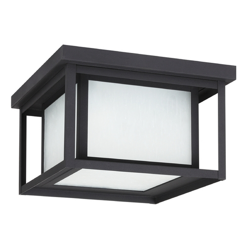Sea Gull Lighting Close To Ceiling Light with White Glass in Black Finish 79039BLE-12