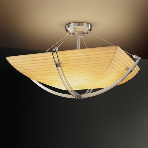 Justice Design Group Justice Design Group Porcelina Collection Semi-Flushmount Light PNA-9711-25-SAWT-NCKL