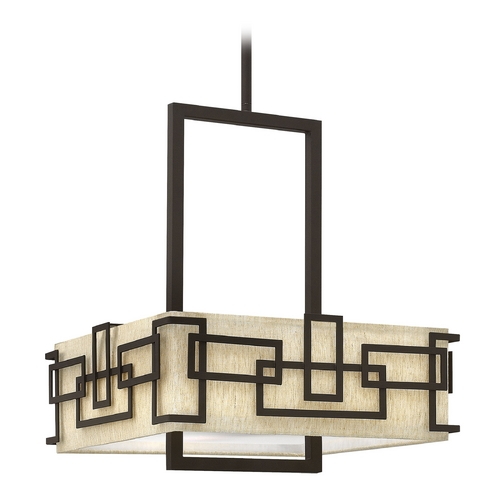 Hinkley Lighting Pendant Light with Beige / Cream Shades in Oil Rubbed Bronze Finish 3163OZ