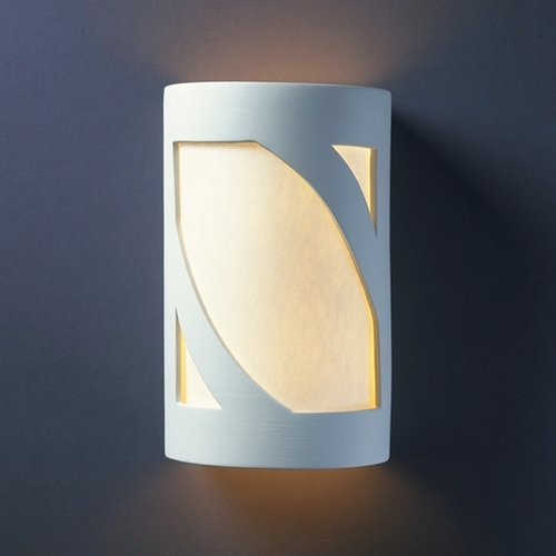 Justice Design Group Sconce Wall Light with White in Bisque Finish CER-7355-BIS