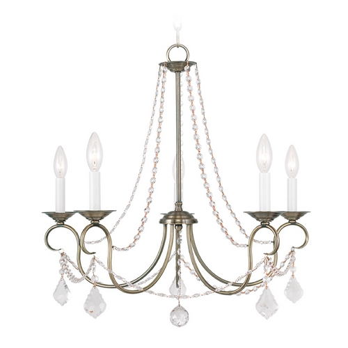 Livex Lighting Livex Lighting Pennington Antique Brass Crystal Chandelier 6515-01