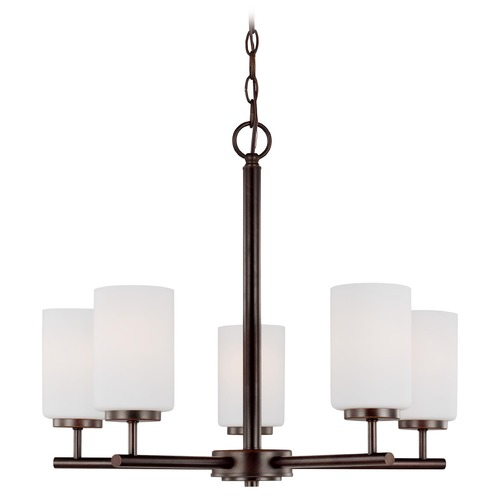 Sea Gull Lighting Oslo Modern 5-Light Bronze Chandelier with Etched White Glass 31161-710