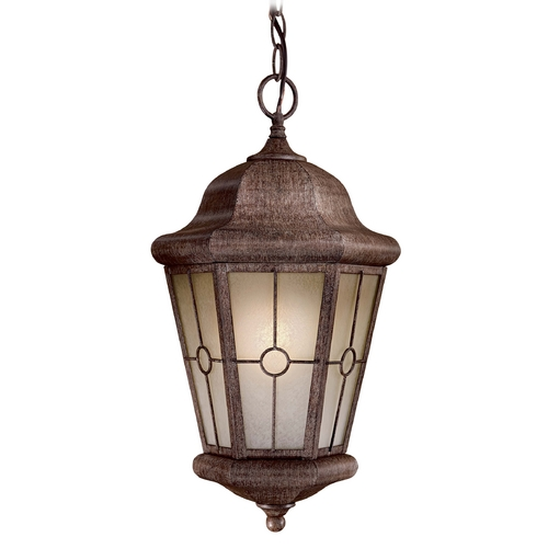 Minka Lavery Outdoor Hanging Light with Beige / Cream Glass in Vintage Rust Finish 8214-A61-PL