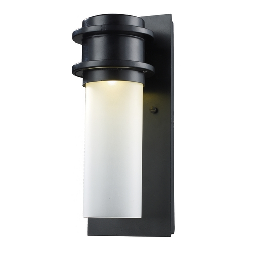 Elk Lighting Modern LED Outdoor Wall Light with White Glass in Matte Black Finish 43010/1