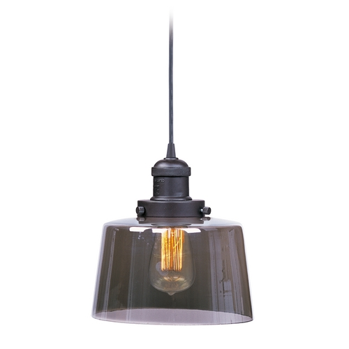 Maxim Lighting Maxim Lighting Mini Hi-Bay Bronze Mini-Pendant Light with Drum Shade 25029MSKBZ