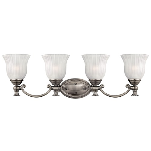 Hinkley Lighting Bathroom Light with White Glass in Polished Antique Nickel Finish 5584PL