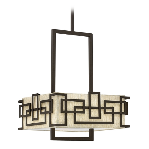 Hinkley Lighting Pendant Light with Beige / Cream Shades in Oil Rubbed Bronze Finish 3164OZ