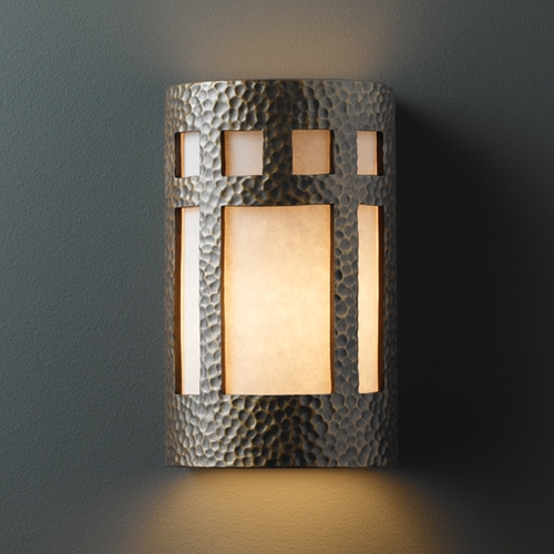 Justice Design Group Sconce Wall Light with White in Hammered Brass Finish CER-7355-HMBR