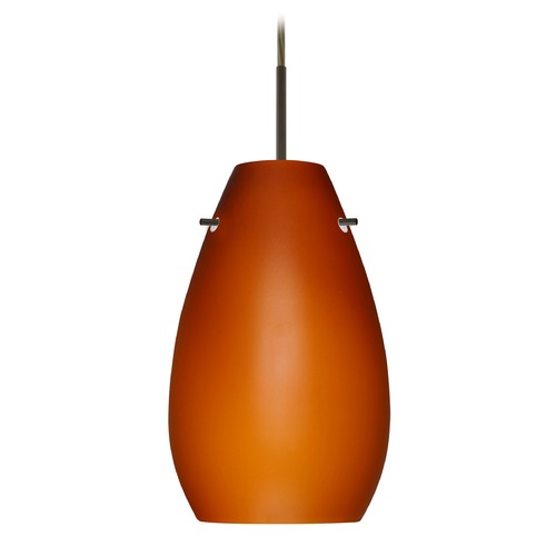 Besa Lighting Besa Lighting Pera Bronze LED Mini-Pendant Light with Oblong Shade 1JT-412680-LED-BR