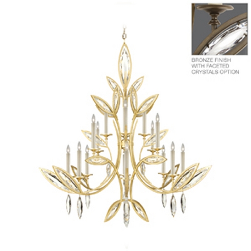 Fine Art Lamps Fine Art Lamps Marquise Antique Hand Rubbed Bronze Crystal Chandelier 844240-32ST