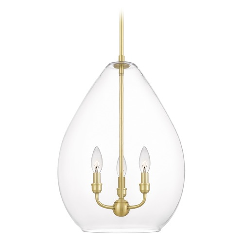 Quoizel Lighting Quoizel Lighting Mallard 3-Light Satin Brass Pendant Light with Clear Glass QPP5111Y