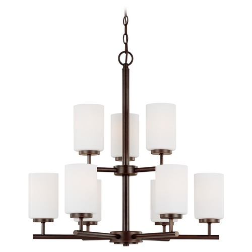 Sea Gull Lighting Oslo Modern 9-Light Bronze 2-Tier Chandelier with Etched White Glass 31162-710