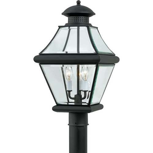 Quoizel Lighting Post Light with Clear Glass in Mystic Black Finish RJ9011K