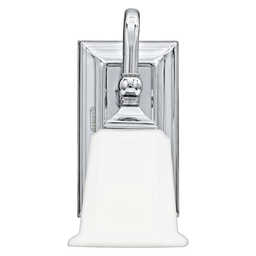 Quoizel Lighting Traditional Sconce with White Glass in Polished Chrome Finish NL8601C