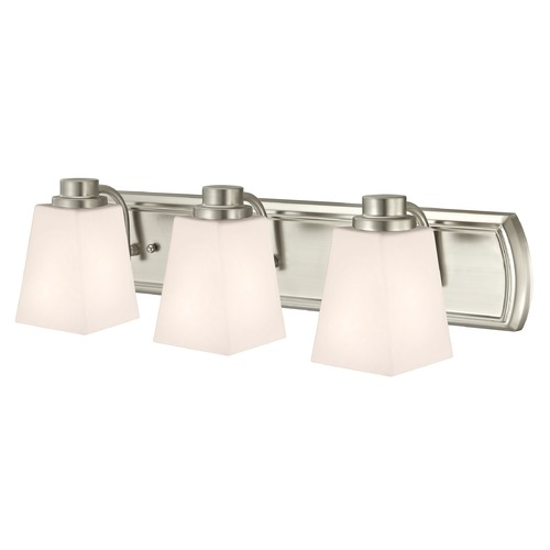 Design Classics Lighting 3-Light Bathroom Light in Satin Nickel and Square White Glass 1203-09 GL1057