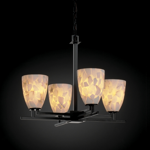 Justice Design Group Justice Design Group Alabaster Rocks! Collection Chandelier ALR-8700-18-MBLK