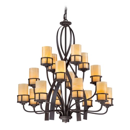 Quoizel Lighting Chandelier with Butterscotch Onyx Shades in Imperial Bronze Finish KY5016IB