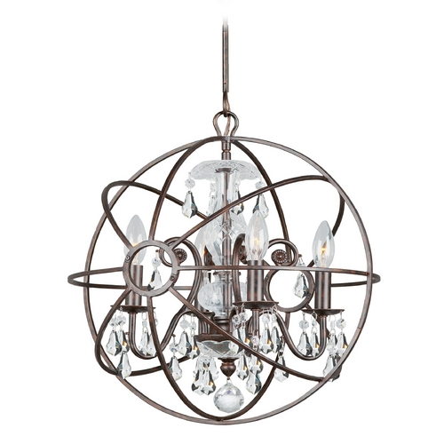 Crystorama Lighting Pendant Light in English Bronze Finish 9025-EB-CL-MWP