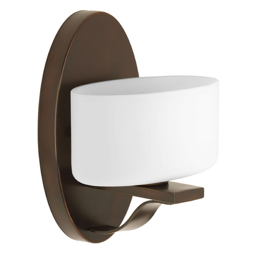 Progress Lighting Modern Sconce Wall Light with White Glass in Antique Bronze Finish P2037-20WB
