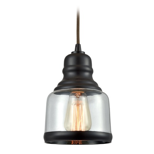 Elk Lighting Elk Lighting Menlow Park Oil Rubbed Bronze Mini-Pendant Light with Bowl / Dome Shade 60068/1