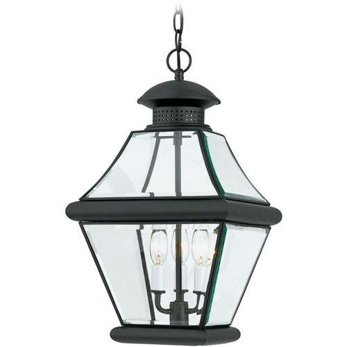 Quoizel Lighting Outdoor Hanging Light with Clear Glass in Mystic Black Finish RJ1911K