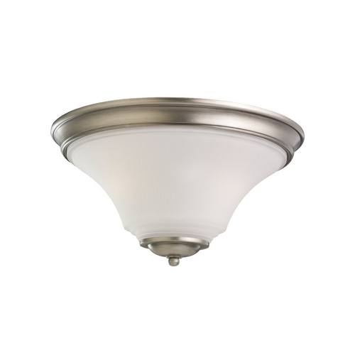 Sea Gull Lighting Flushmount Light with White Glass in Antique Brushed Nickel Finish 75375-965