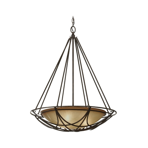 Feiss Lighting Bowl Pendant Light in Bronze Finish with Ivory Glass F2607/3MBZ