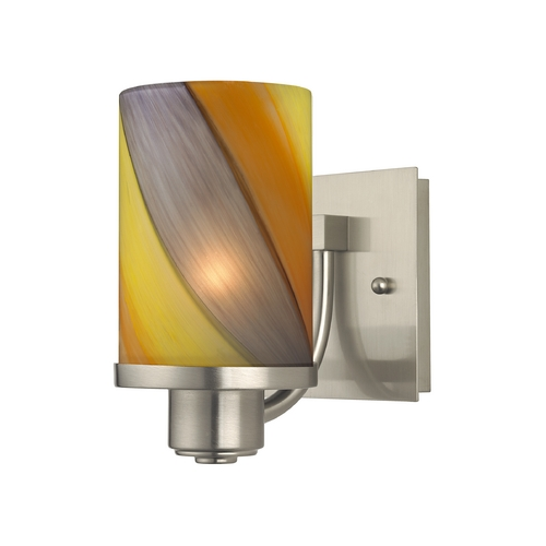 Design Classics Lighting Modern Sconce Wall Light with Art Glass in Satin Nickel Finish 589-09 GL1015C