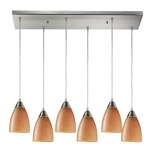 Elk Lighting Modern Multi-Light Pendant Light with Brown Glass and 6-Lights 527-6RC-SY