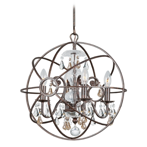 Crystorama Lighting Pendant Light in English Bronze Finish 9025-EB-GS-MWP