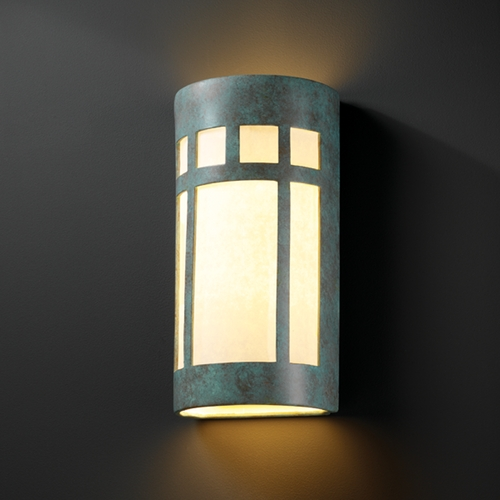 Justice Design Group Sconce Wall Light with White in Verde Patina Finish CER-7357-PATV
