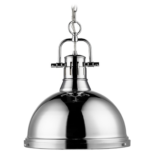 Golden Lighting Golden Lighting Duncan Chrome Pendant Light with Bowl / Dome Shade 3602-L CH-CH