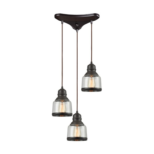 Elk Lighting Elk Lighting Menlow Park Oil Rubbed Bronze Multi-Light Pendant with Bowl / Dome Shade 60068/3