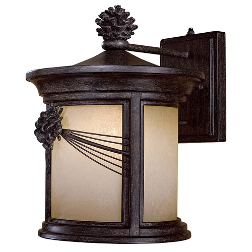 Minka Lavery Outdoor Wall Light with Beige / Cream Glass in Iron Oxide Finish 9153-A357-PL