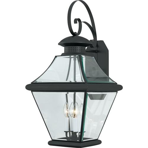 Quoizel Lighting Outdoor Wall Light with Clear Glass in Mystic Black Finish RJ8414K