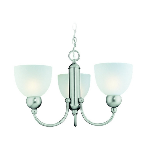 Sea Gull Lighting Modern Mini-Chandelier with White Glass in Brushed Nickel Finish 39035BLE-962