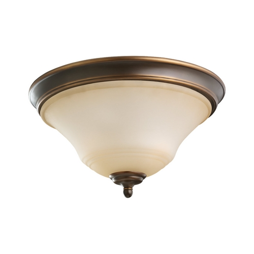 Sea Gull Lighting Flushmount Light with Beige / Cream Glass in Russet Bronze Finish 75381-829