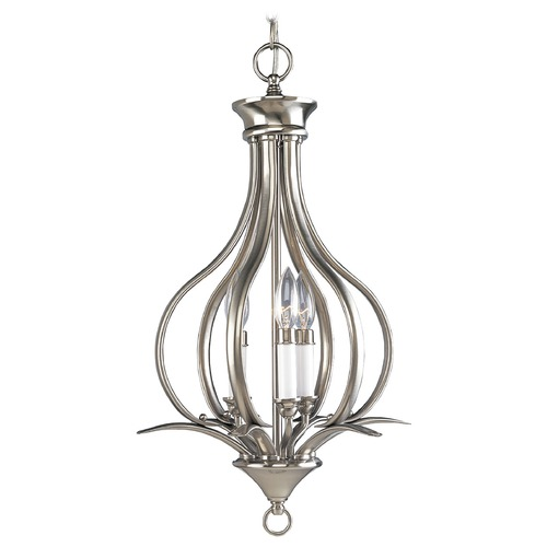 Progress Lighting Progress Pendant Light in Brushed Nickel Finish P3807-09