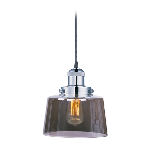 Maxim Lighting Maxim Lighting Mini Hi-Bay Polished Nickel Mini-Pendant Light with Drum Shade 25029MSKPN/BUI